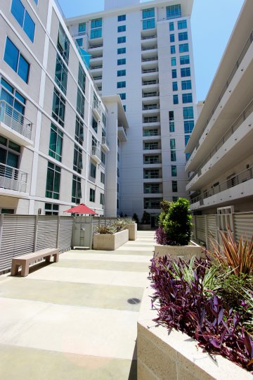 A sunny day in the area of Acqua Vista, high rise condos, balconies, windows