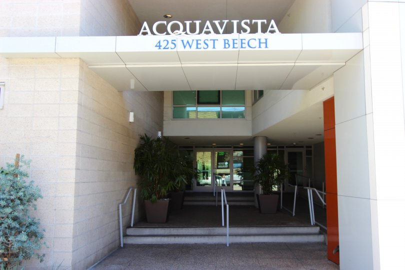 The front of the building at the address 425 West beach in Acqua Vista Downtown San Diego CA.