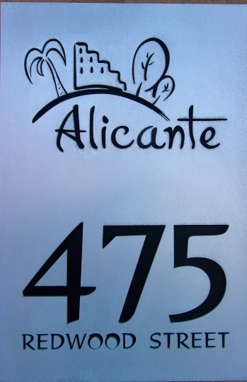 Sign for Alicante with address or 475 Redwood Street and logo