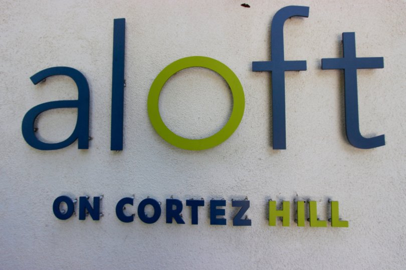 Colorful sign of Aloft in Downtown San Diego California
