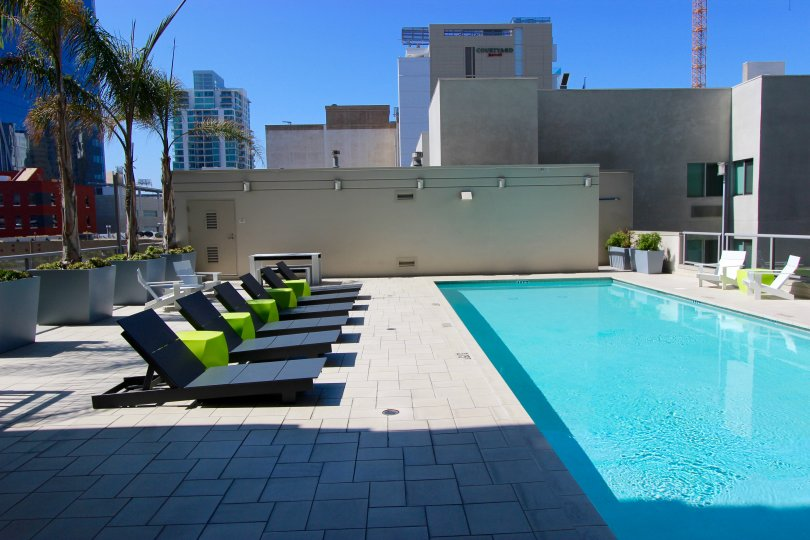 Secluded pool with lounge chairs and city views at Alta in Downtown San Diego, California