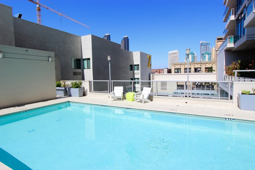 A rooftop pool in the Alta community in Downtown San Diego California.
