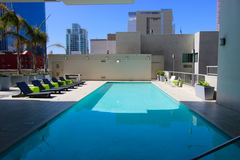 A nice day at the rooftop pool at Alta in downtown San Diego, California.