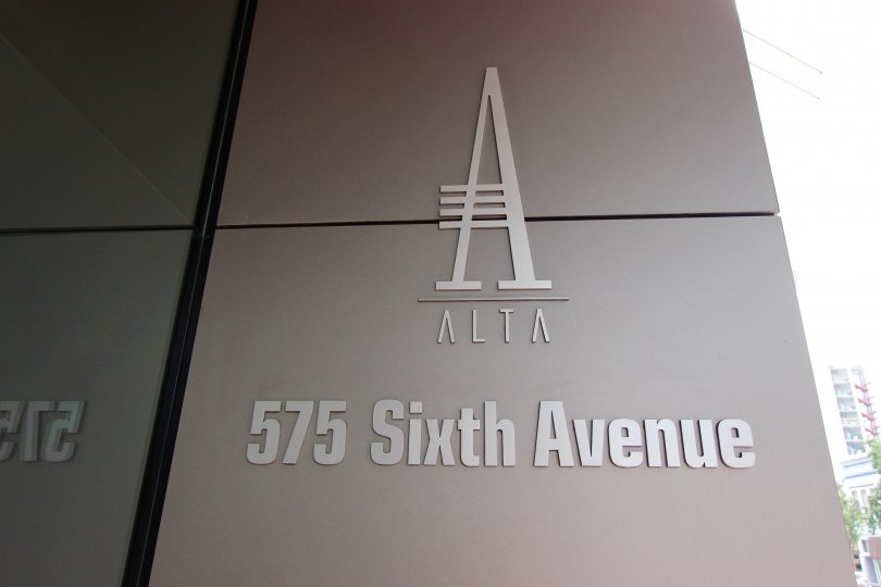 The logo and address of Alta in downtown San Diego, CA.