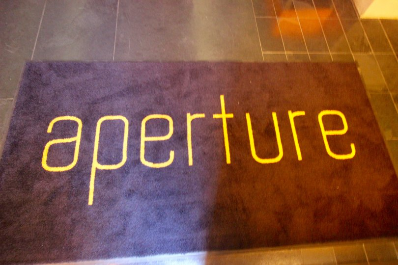 The cheerful welcome mat at Aperture in Downtown San Diego, CA