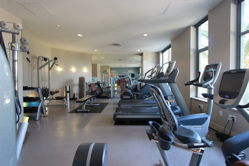 Large gym building with exercise equipment inside Aria at Downtown San Diego CA