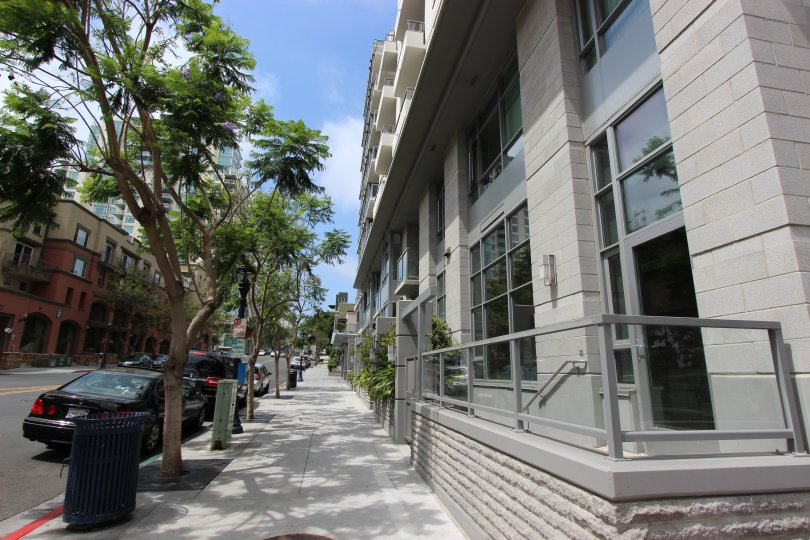 The sidewalk in the Aria community in Downtown San Diego California.