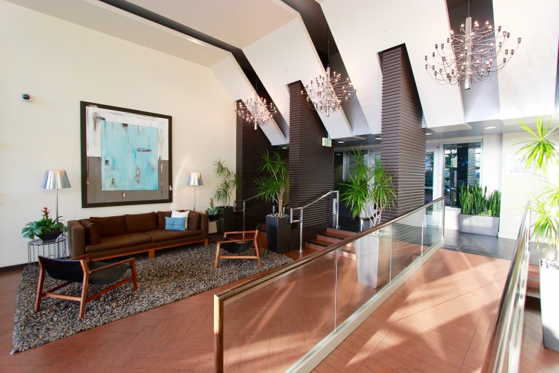 Sunny and inviting lobby at Breeza in Downtown San Diego, California.