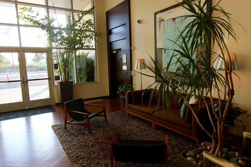Beautifully lit Breeza lobby in Downtown San Diego, CA