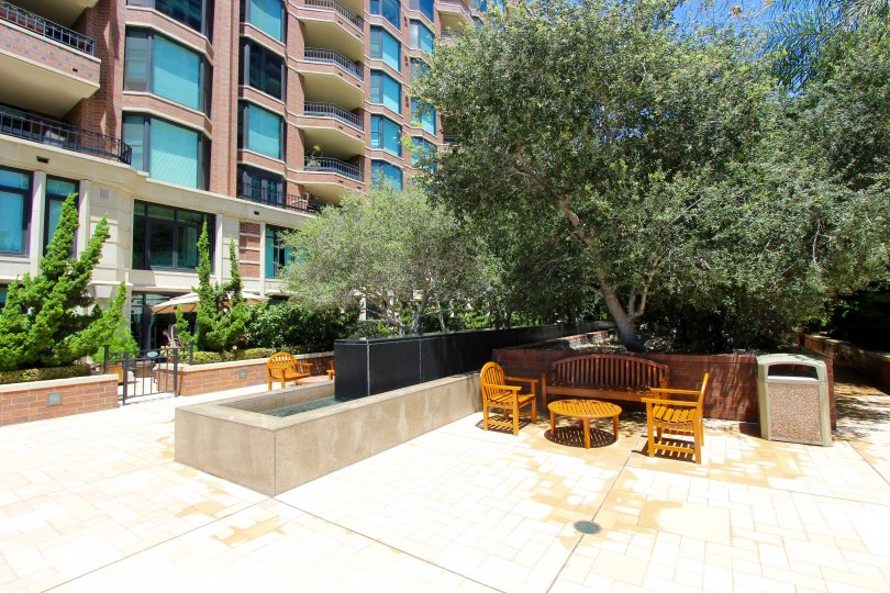 The outdoor sitting area in an apartment complex in Cityfront Terrace Downtown San Diego CA.