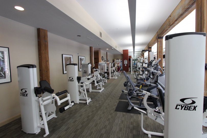 Various fitness machines fill the fitness room at Cityfront Terrace