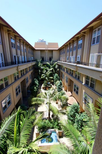 A courtyard in a complex in Citywalk community of Downtown San Diego CA.