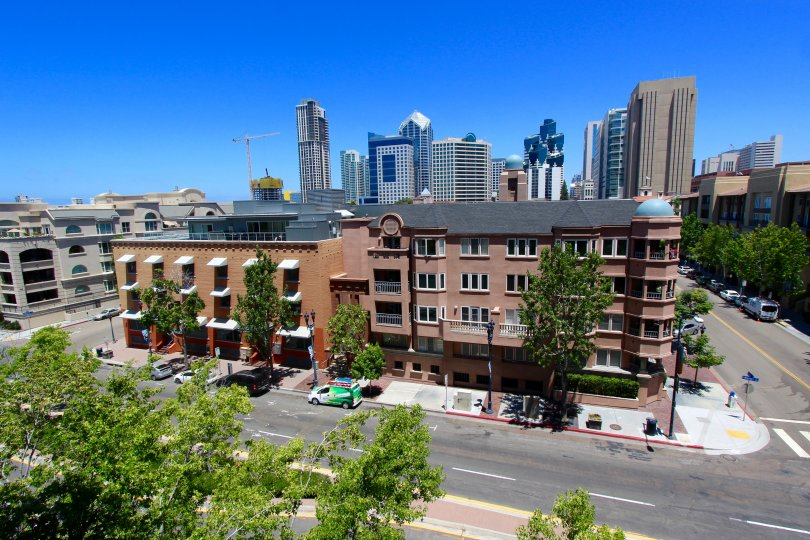 Bustling streets with trees and great city views at Columbia Place in Downtown San Diego, California