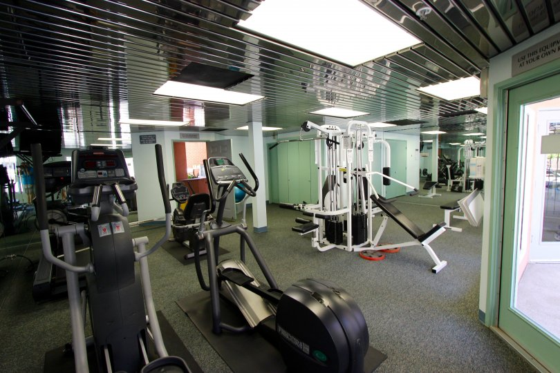 Well appointed fitness center in the Columbia Place community in Downtown San Diego, California.