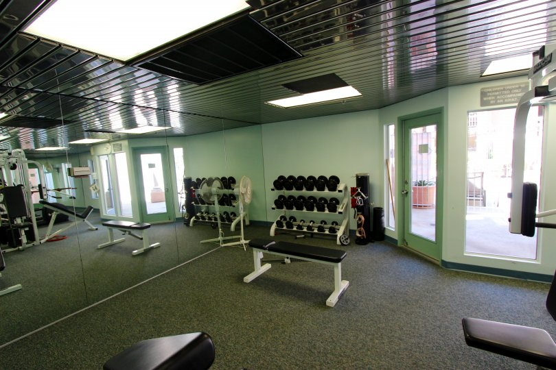 Inside of a Columbia Place gym with free weights and a butterfly machine.
