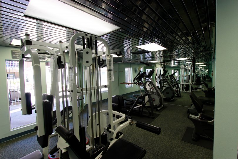 Large gym with variety of equipment at Columbia Place.