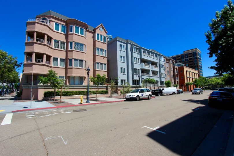 Parking near colorful residential buildings at Columbia Place in Downtown San Diego CA