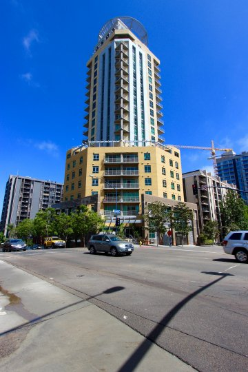 A view from the street of the tower of Cortez Blu in downtown San Diego, CA