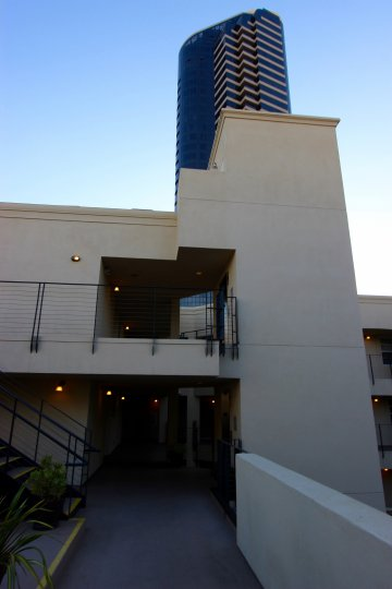 Tall condominiums structure at the Crown Bay in Downtown San Diego CA