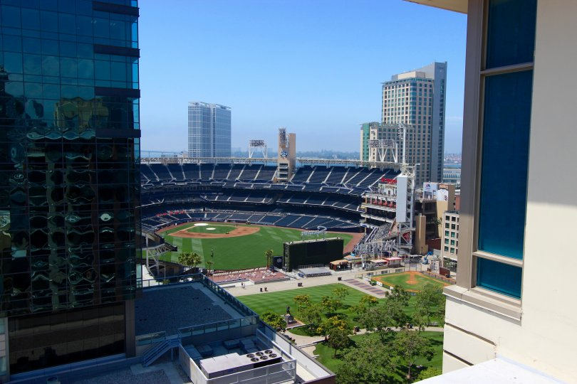 Perfect view of baseball diamond from Diamond Terrace in Downtown San Diego, California