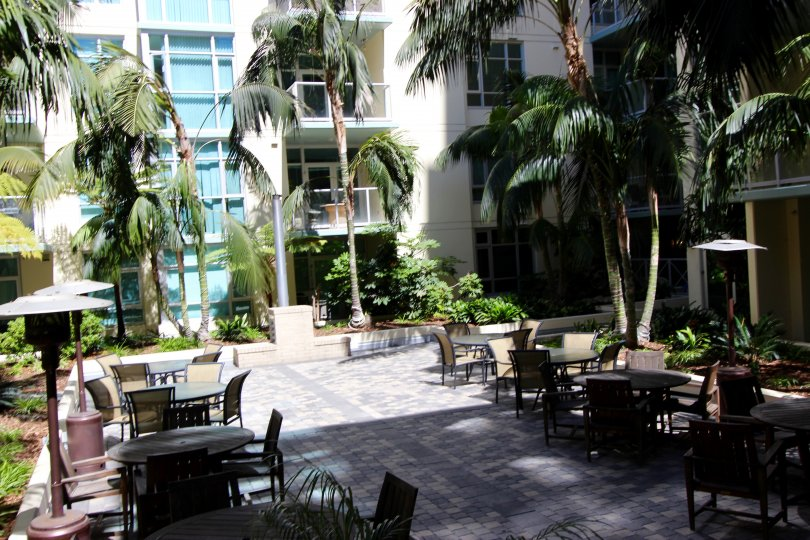 Shady and secluded courtyard at Discovery in Downtown San Diego, California.