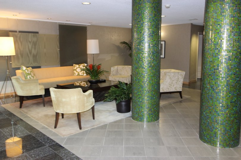 A sitting lobby in a building of the Discovery community in Downtown San Diego CA.