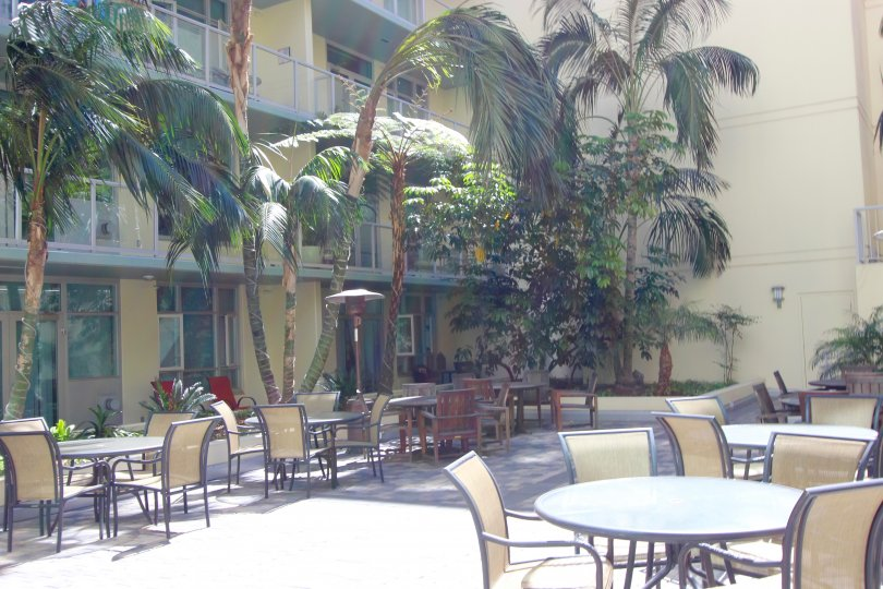 Private courtyard at Discovery in Downtown San Diego, California.