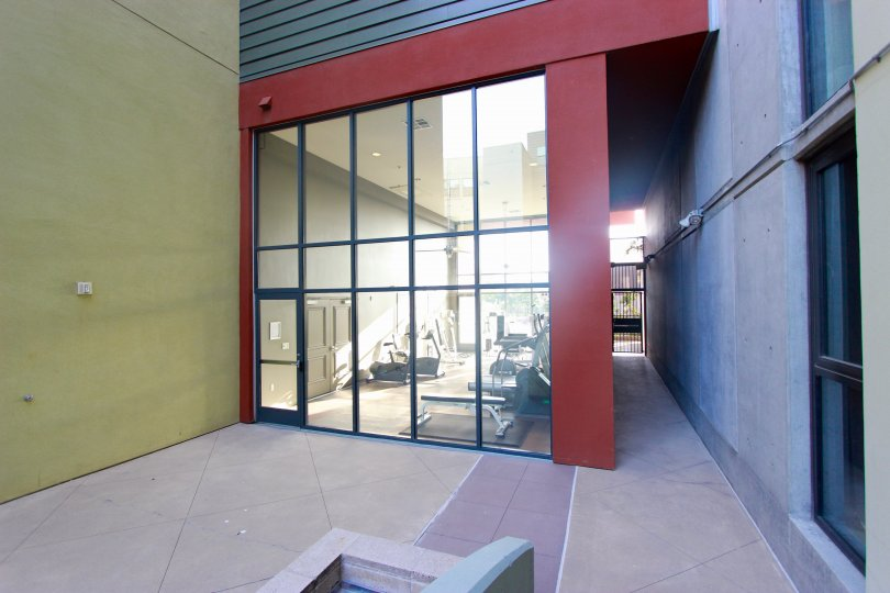Red gym structure with see through walls at DOMA in Downtown Sand Diego CA