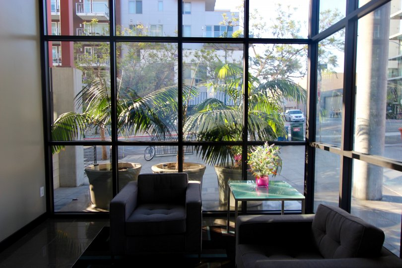 Street view through large windows at DOMA in Downtown San Diego, California