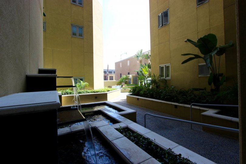 The courtyard view of A buliding in the Element community in Downtown San Diego CA