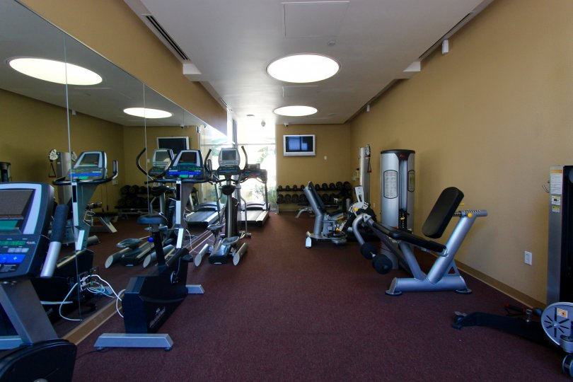Well-appointed fitness center at Element in Downtown San Diego, California.