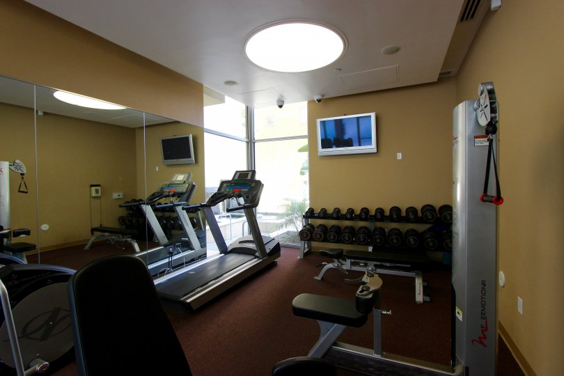 Well-appointed fitness center at Element in Downtown San Diego, California