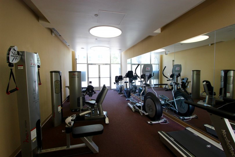 This shows like the gym which have the lot of exercising equipments and is located in the community of Element, the city of Downtown San Diego