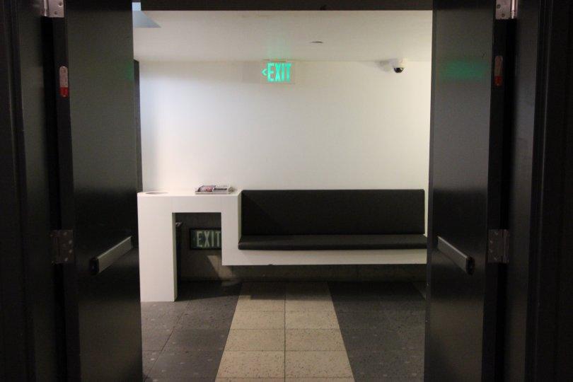 Utilitarian bench in hallway at Fahrenheit in Downtown San Diego, California