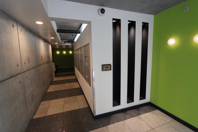 A mailbox hallway in Fahrenheit community in Downtown San Diego CA.