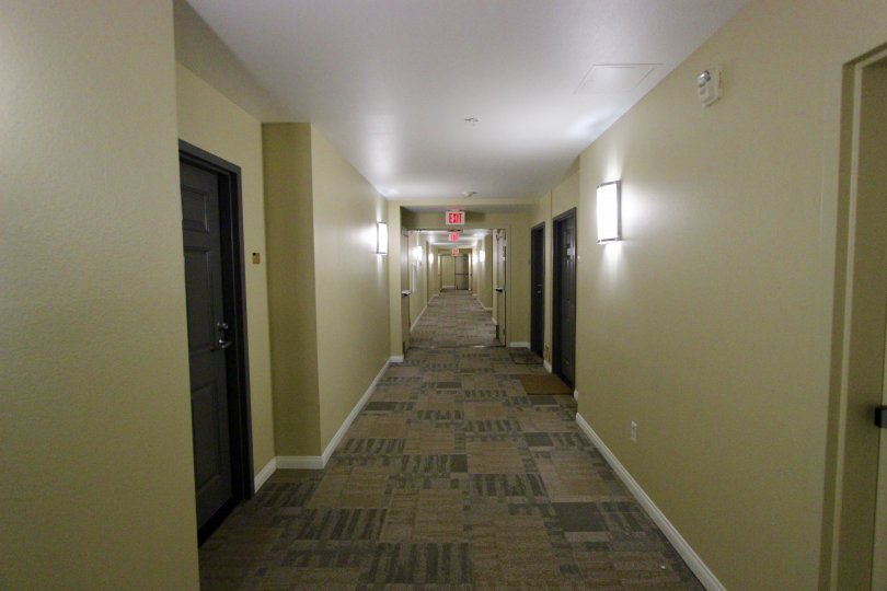 A hallway in a modernly designed building in one of California's most beautiful cities