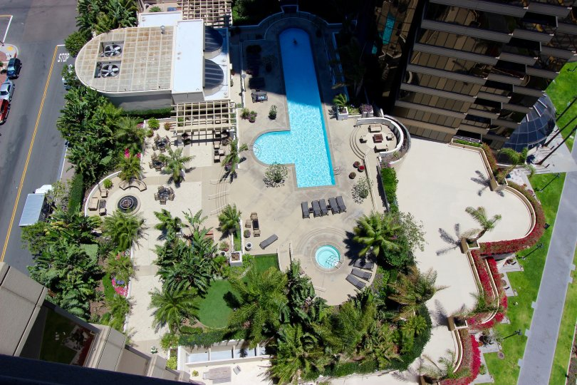 High sky view of rooftop pools in Harbor Club Downtown San Diego CA.