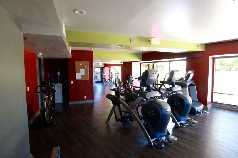 Gym and workout area in Harbor Club Downtown San Diego California