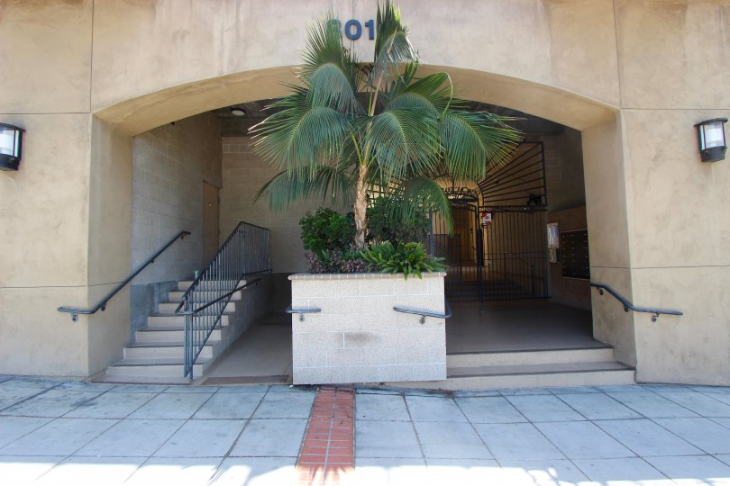 The decorated front entrance of a building in the Hawthorn Place in Downtown San Diego cA