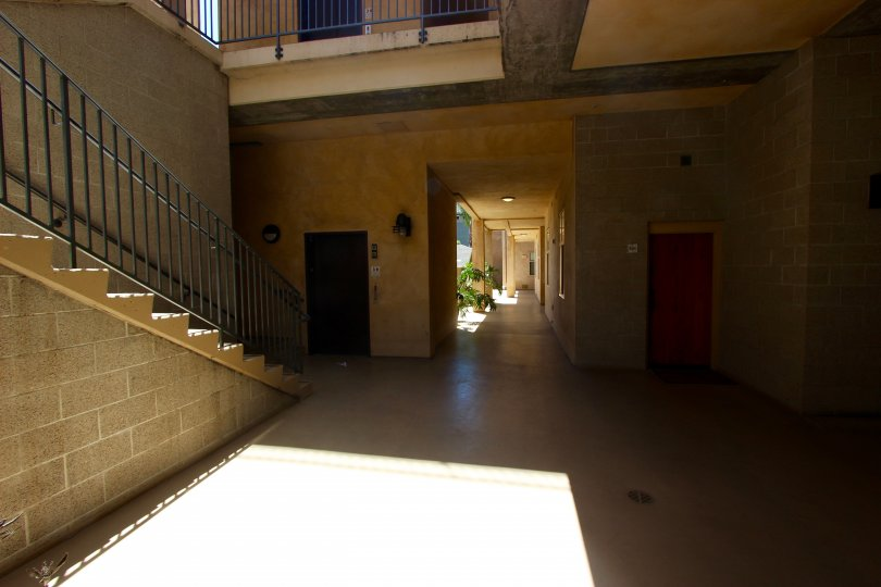 Ground floor with steps and an elevator at Hawthorn Place in downtown San Diego, California