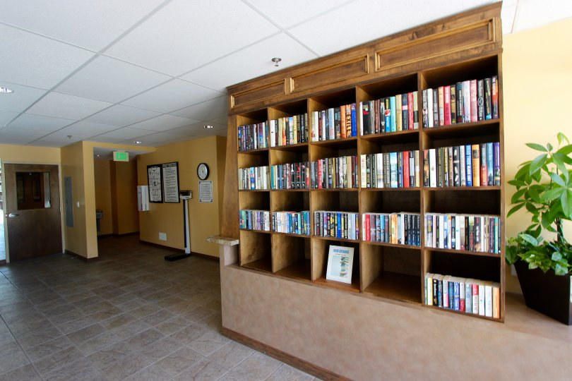Bookcase in lobby in Horizons Downtown San Diego California