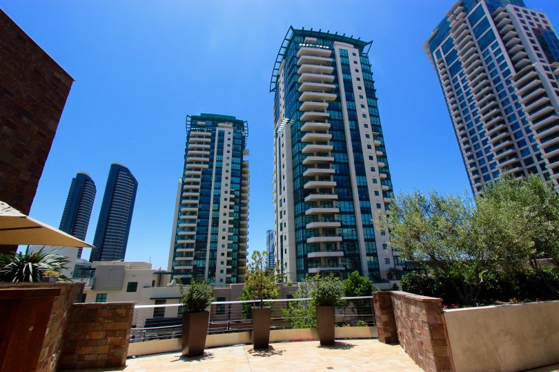 Very cool view of 4 buildings in Horizons Downtown San Diego California