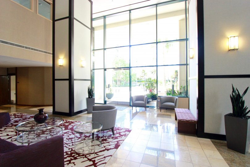 Horizons, City: Downtown San Diego, a beautiful spacious hall with nice glasses and fancy furniture