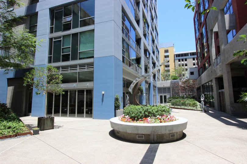 Courtyard with art work in Icon Downtown San Diego California
