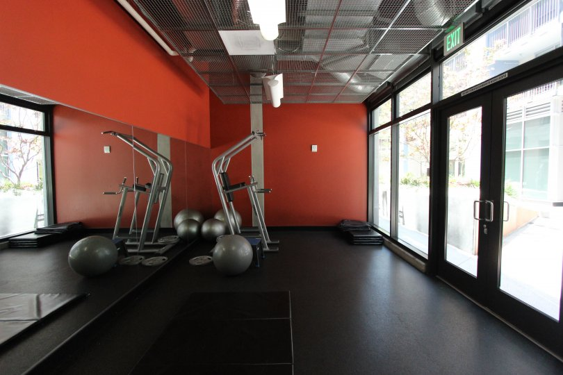 well furnished gym workout hall in icon have threat mill and balls