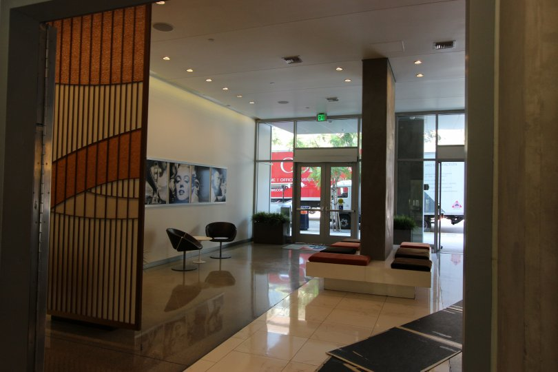 An interior shot of a lobby at Icon in Downtown San Diego