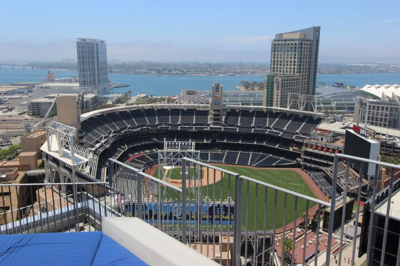 This is a picture of the scene of downtown san diego California there are nature scenes in the picture