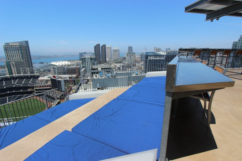Icon rooftop seating with stadium view downtown San Diego California