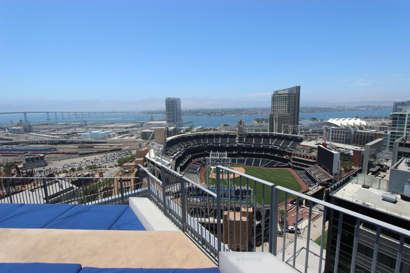A view of the ballpark from the rooftop of Icon in downtown San Diego, CA
