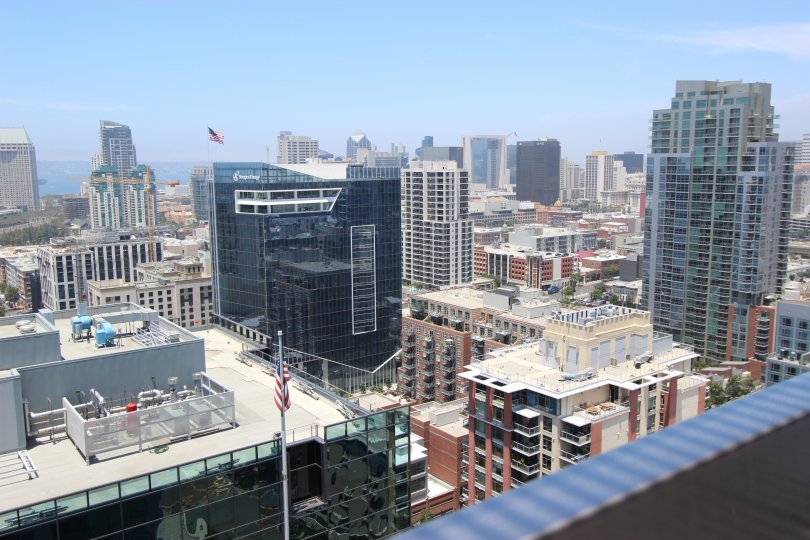 A view is show of the surrounding buildings at the Icon condos